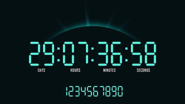 일출 배경에 카운트 다운 디지털 시계입니다. 웹 사이트 디자인 및 홍보를위한 숫자 레이아웃.