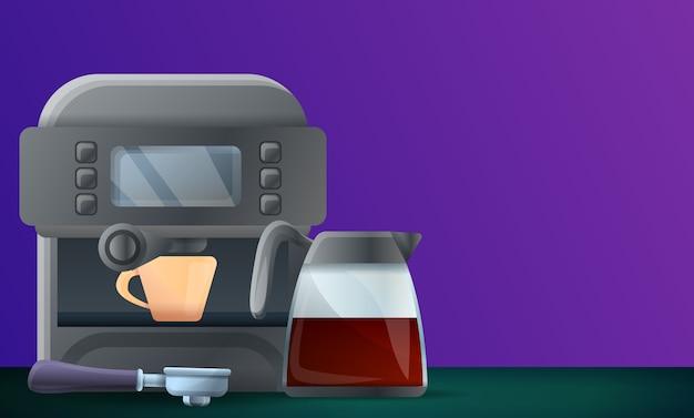 Digital coffee machine concept illustration, cartoon style
