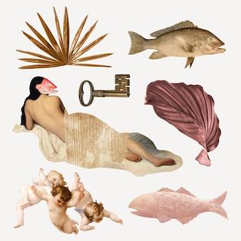 Digital collage element set vector, vintage illustration mixed media art