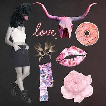 Digital collage graphic set, vector vintage illustration mixed media art