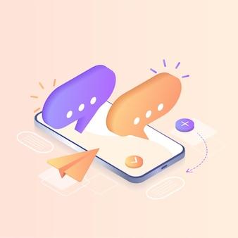 디지털 통신 인스턴트 메신저 벡터 일러스트레이션 개념 모바일 스마트폰 및 소셜 미디어 채팅용 노트북 방문 페이지 템플릿 웹 배너 홈페이지 아이소메트릭에 사용할 수 있습니다.