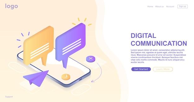 Digital communication instant messenger vector illustration concept  mobile smartphone and laptop