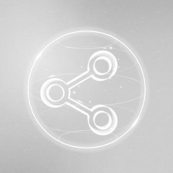 Vettore dell'icona della tecnologia di connettività digitale in bianco su sfondo sfumato