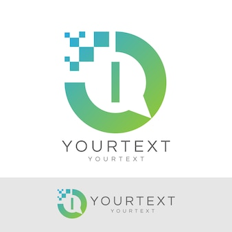 디지털 컨설턴트 초기 letter i 로고 디자인