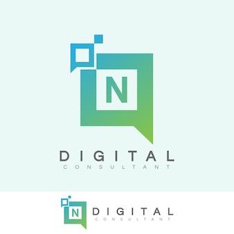デジタルコンサルタントの初期レターnロゴデザイン