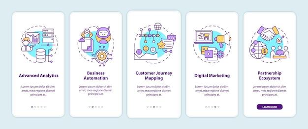 Компоненты цифрового консалтинга на экране страницы мобильного приложения с концепциями
