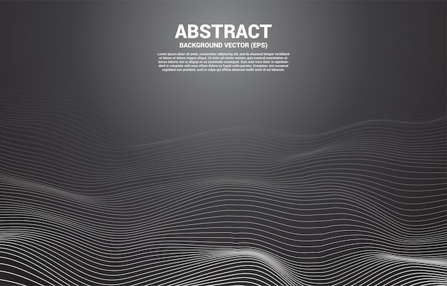 Digital contour curve line and wave with wireframe . abstract background for 3d futuristic technology concept