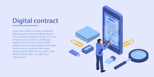 Digital contract concept banner, isometric style