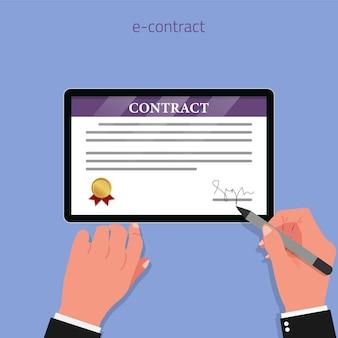 Концепция цифрового контракта с руками, подписанными на экране планшета