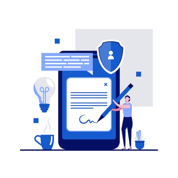 Digital contract signature concept with character signing signature on smartphone screen