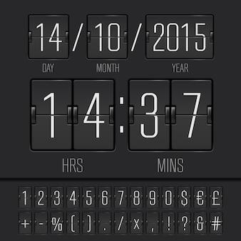 Digital countdown timer and scoreboard numbers