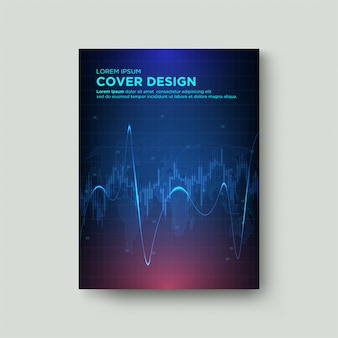 Digital cover trading. with a graphic illustration of a candle and a blue curved line on a dark background.