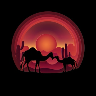 Digital craft style of camels and desert in the evening.