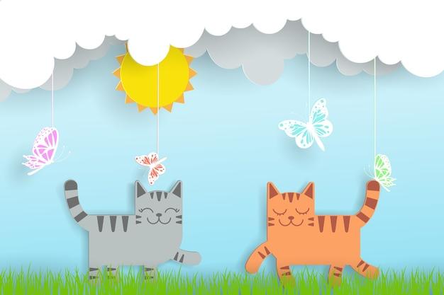 2匹の猫、太陽、雲、蝶の夏のデジタルクラフトスタイル。