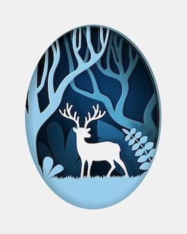 사슴과 그린 에코 숲의 디지털 공예 스타일