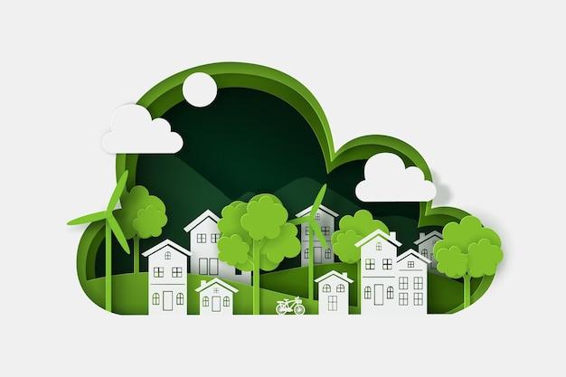 Цифровой стиль ремесла природного пейзажа с деревней, концепция зеленого эко