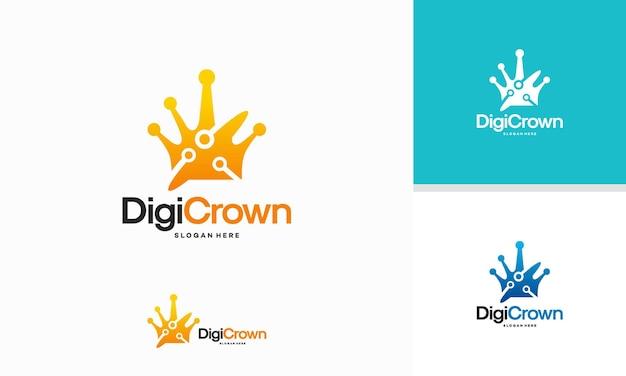 デジタルクラウンロゴテンプレート、デジタルロゴの王はベクトルを設計し、テクノロジーのロゴ