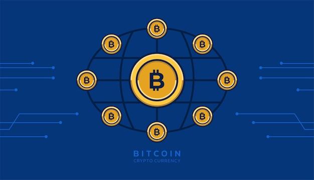 Bitcoin 아이콘 및 회로 라인 벡터와 디지털 암호 화폐 배경 개념