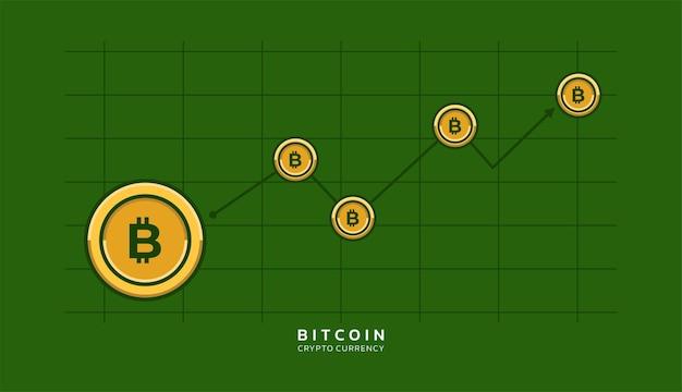 Bitcoin 아이콘 및 위쪽 화살표 벡터와 디지털 암호 화폐 성장 배경 개념