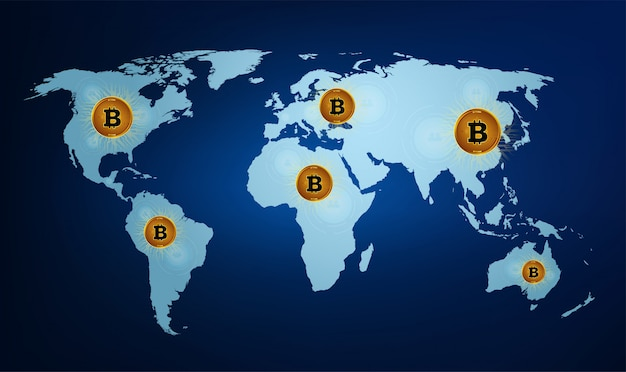Digital currency bitcoin on the world map.