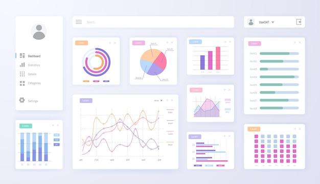 Digital dashboard admin panel with graph, chart diagram