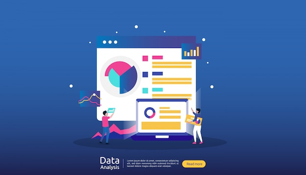 Digital data analysis illustration for market research and digital marketing strategy