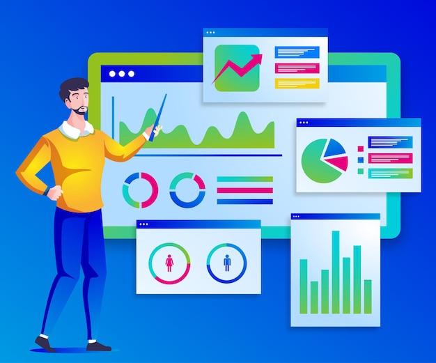 Иллюстрация презентации аналитика цифровых данных