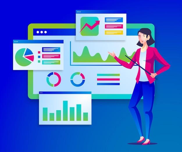 디지털 데이터 분석가 프레젠테이션 일러스트레이션