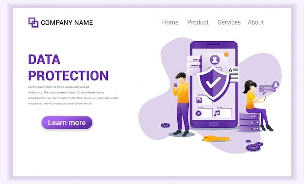 Digital data protection  for landing page template.