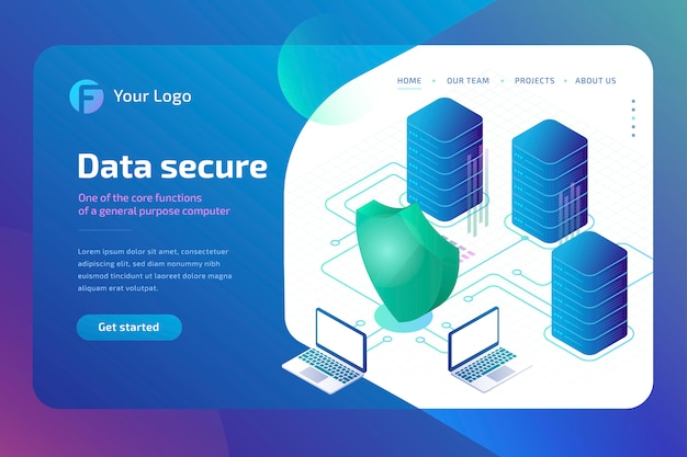 Digital data secure and data security concept. cyber security landing page template.  isometric