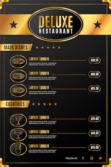 Digital deluxe restaurant menu