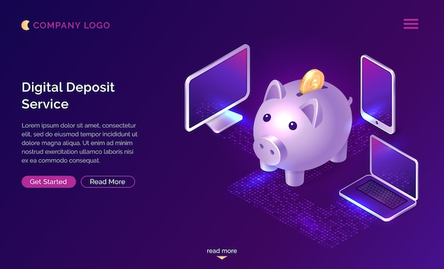 Digital deposit money service isometric concept