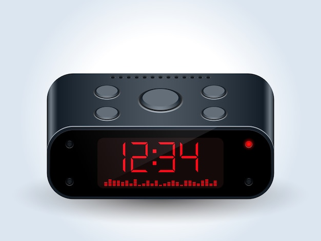 Digital desktop clock realistic vector