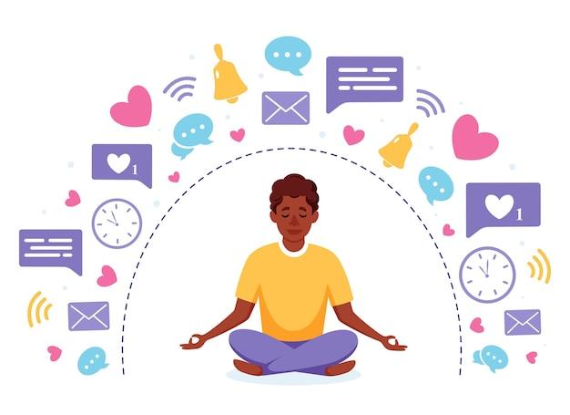デジタルデトックスと瞑想 Premiumベクター