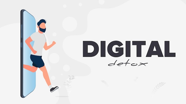 Digital detox banner. the guy runs out of the smartphone. the concept of banning devices, device free zone, digital detox. vector. Premium Vector