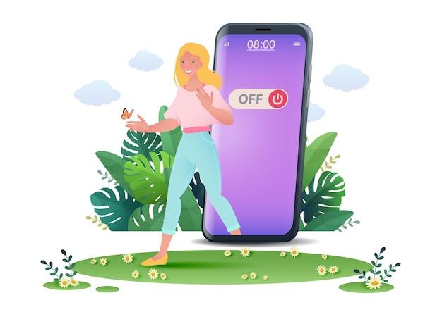 Иллюстрация концепции цифровой детоксикации с женщиной, выходящей из смартфона и выходящей на природу Premium векторы