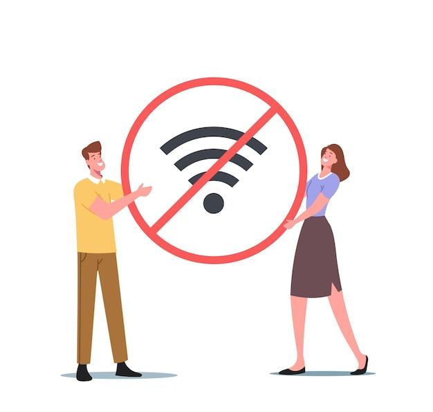 디지털 해독 개념입니다. 거대한 교차 와이파이 기호를 들고 작은 남성과 여성 캐릭터. 사람들은 소셜 미디어 네트워크를 종료하고 가제트 및 전자 장치를 끕니다. 만화 벡터 일러스트 레이 션