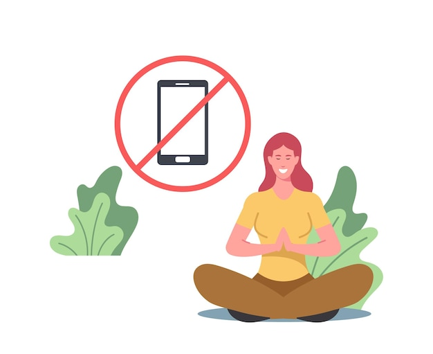 Digital detox, information ecology, staying away from online communication concept. character meditate, exit social media networks, turn off gadgets and electronic device. cartoon vector illustration
