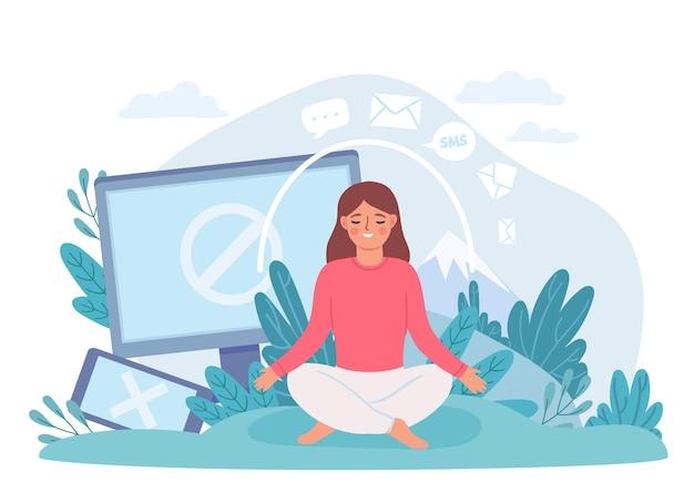 Digital detox. woman in lotus pose meditate and take break from internet, phone and social networks. disconnect offline life vector concept. digital social media offline, cartoon meditation