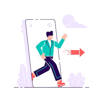 Digital detox. woman stepping out of huge mobile phone screen. escape from smartphone
