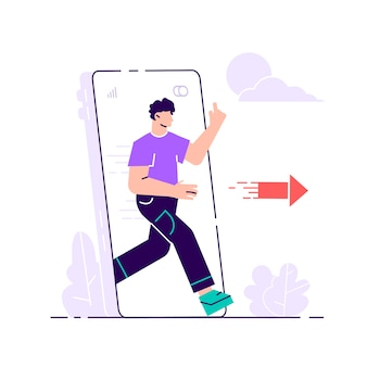 Digital detox. young woman stepping out of huge mobile phone. escape from smartphone