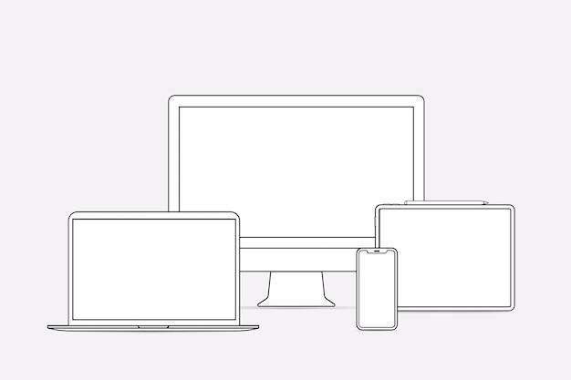 デジタルデバイスの概要、白いデジタルデバイスのベクトル図