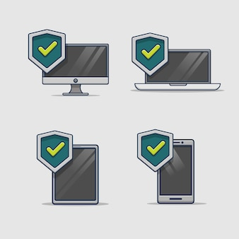 デジタルデバイスのセキュリティ保護アイコン