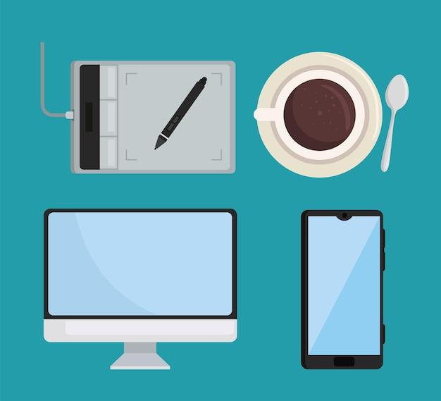 デジタルデバイスとコーヒー