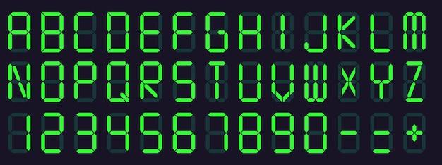 Шрифт цифрового дисплея. будильник буквы и цифры, электронный алфавит и символы экрана ретро калькулятор установлены
