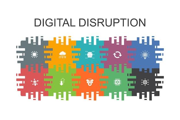 フラットな要素を持つデジタル破壊漫画テンプレート。テクノロジー、イノベーション、iot、デジタル化アイコンなどのアイコンが含まれています