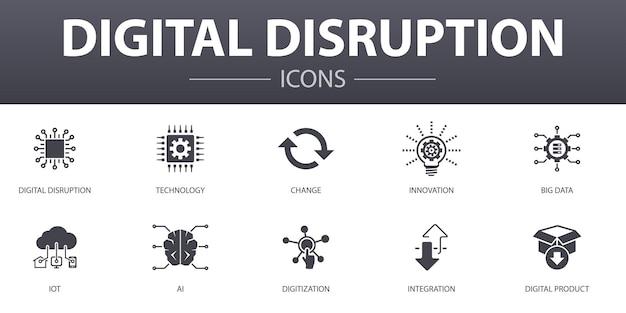 デジタル破壊のシンプルなコンセプトアイコンを設定します。テクノロジー、イノベーション、iot、デジタル化などのアイコンが含まれており、web、ロゴ、ui / uxに使用できます