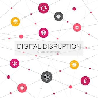シンプルなアイコンでデジタル破壊トレンディなwebテンプレート。テクノロジー、イノベーション、iot、デジタル化アイコンなどの要素が含まれています
