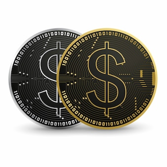 Digital dolar black gold coin