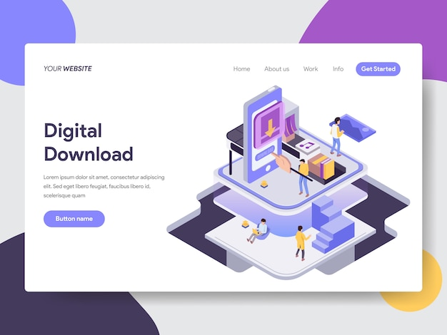 Digital download isometric illustration for web pages